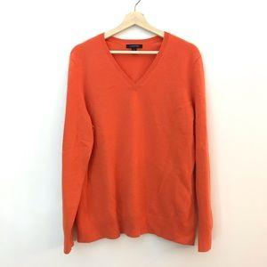 Land's End 100% cashmere orange sweater